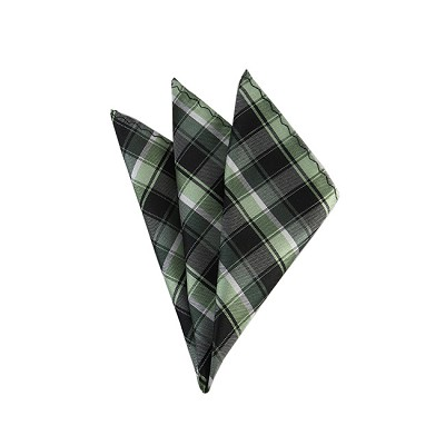 DH-133B | Multi-Shade Green Plaid Men's Woven Handkerchief