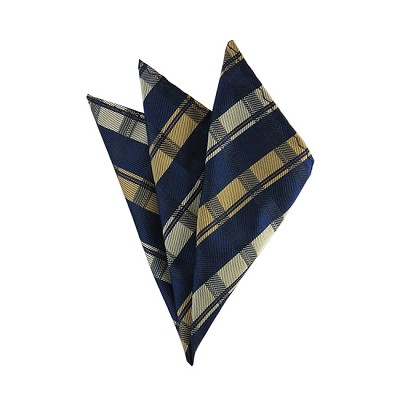 DH-138 | Navy Blue, Honey Gold and Beige Tartan Plaid Men's Woven Handkerchief