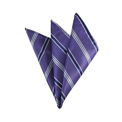 DH-145 | Navy Blue and Powder Blue on Purple Alternating Stripes Men's Woven Handkerchief