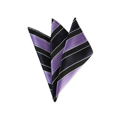 DH-147 | Lavender, Eggplant and Black Wide Striped Men's Woven Handkerchief
