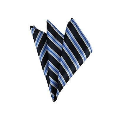 DH-151 | Steel Blue and Navy Blue Repp Striped Men's Woven Handkerchief