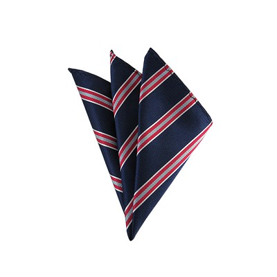 DH-155 | Navy Blue, Red and Silver Narrow Striped Men's Woven Handkerchief