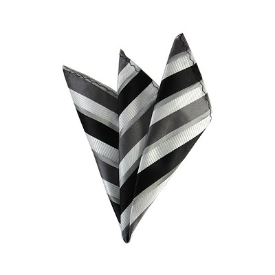 DH-156 | Black, White and Charcoal Gray Pattern Striped Men's Woven Handkerchief
