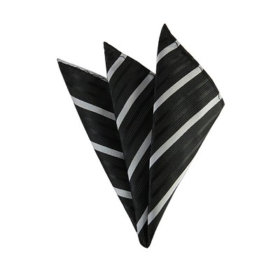 DH-158 | Black and Silver Narrow Pattern Stripe Men's Woven Handkerchief