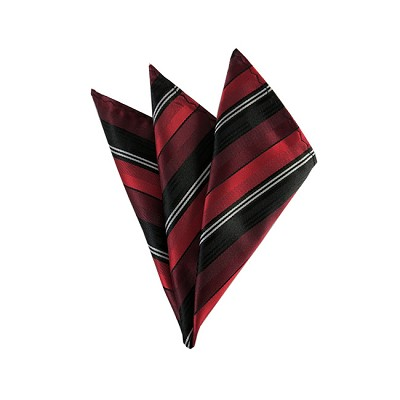DH-162 | Red, Burgundy and Black Multi-Striped Men's Woven Handkerchief