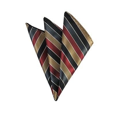 DH-164 | Copper, Black, Burgundy and Charcoal Multi-Color Stripe Men's Woven Handkerchief