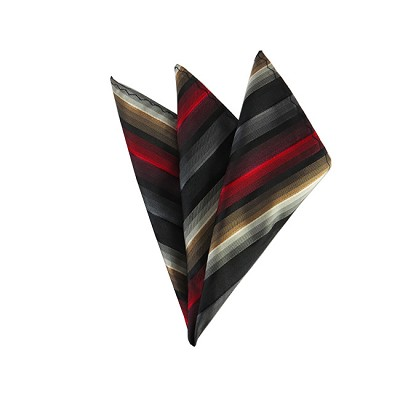 DH-165 | Red, Black and Gray Multi-Tone Color Stripe Men's Woven Handkerchief