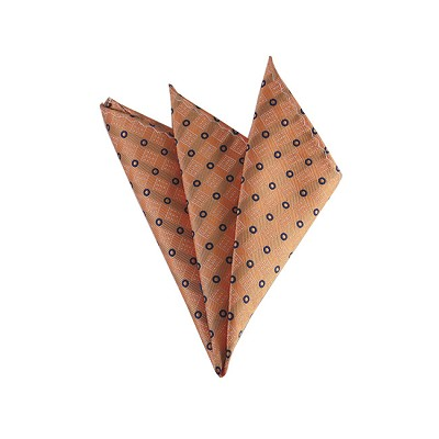 DH-169 | Light Salmon Orange and Navy Blue Small Multi-Dot Men's Woven Handkerchief