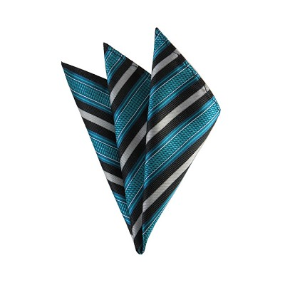 DH-177 | Turquoise Blue and Black Basket Weave Striped Men's Woven Handkerchief