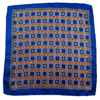 PH-02C | Royal Blue w. Gold and Orange Straight Lattice Multi-Colored Handkerchief