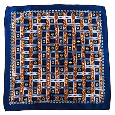 PH-02E | Navy Blue w. Gold and Orange Straight Lattice Multi-Colored Handkerchief