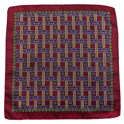 PH-02F | Burgundy w. Steel Blue and Red Straight Lattice Multi-Colored Handkerchief