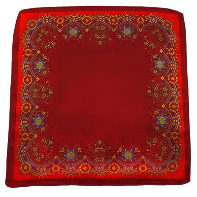 PH-04C | Crimson w. Red and Honey Gold Floral Baroque Pattern Handkerchief