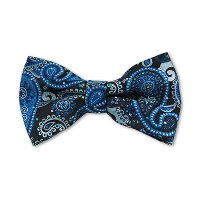 DB-02 | Pre-Tied Steel Blue, Light Blue and Black Woven Paisley Bow Tie
