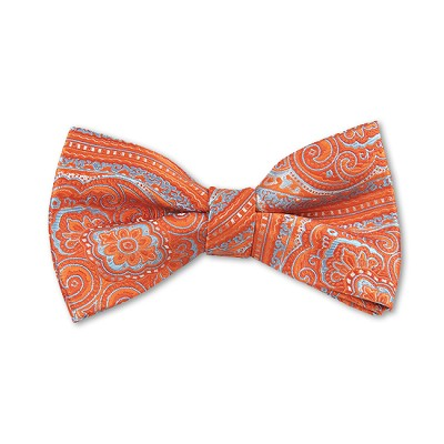 DB-06 | Pre-Tied Tangerine and Sky Blue Woven Paisley Bow Tie