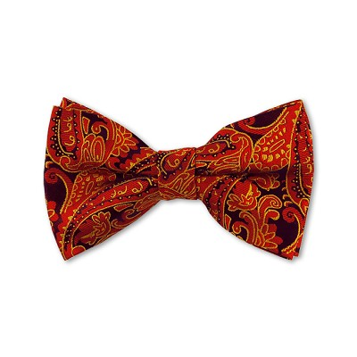 DB-10 | Pre-Tied Wine Red, Golden Yellow and Black Woven Paisley Bow Tie