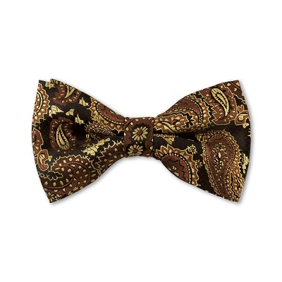 DB-11 | Pre-Tied Brown, Black and Honey Beige Woven Paisley Bow Tie