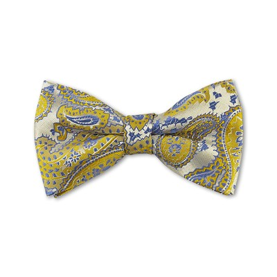 DB-12 | Pre-Tied Mustard and Steel Blue on Platinum Woven Paisley Bow Tie