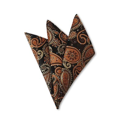 DH-04 | Light Brown, Honey Gold and Black Woven Paisley Handkerchief