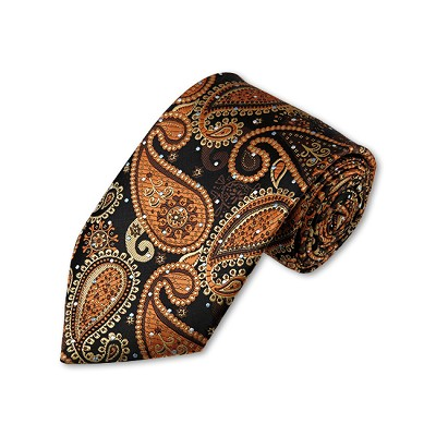 DT-04 | Light Brown, Honey Gold and Black Woven Paisley Necktie
