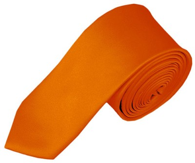 SK-03 | Solid Orange Skinny Tie For Men
