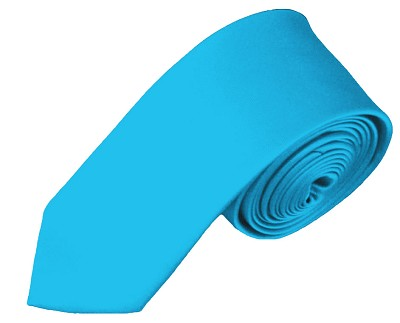 SK-18 | Solid Turquoise Blue Skinny Tie For Men