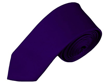 SK-31 | Solid Dark Purple Skinny Tie For Men