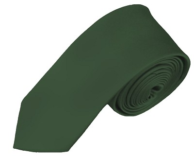 SK-96 | Solid Hunter Green Skinny Tie For Men
