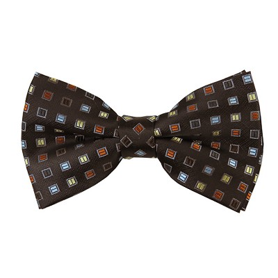 BK-14| Light Blue, Honey Gold, and Brown Geometric Box Pattern On Black Men's Woven Bow Tie