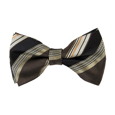 BK-28|Brown, Beige, and Honey Gold Multi-Repp Striped Men's Woven Bow Tie