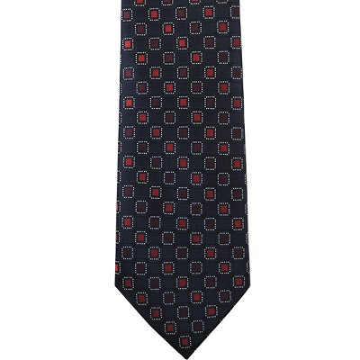 K-05| Red, Maroon and Navy Blue Geometric Box Woven Necktie