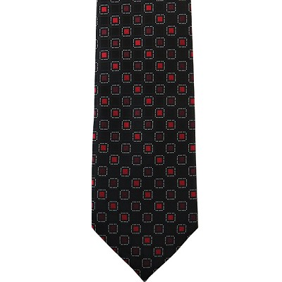 K-13| Red, Maroon and Black Geometric Box Woven Necktie