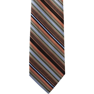 K-33 | Steel Blue, Lite Coral, and Black Striped Woven Necktie