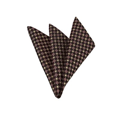 LH-26 | Burgundy and Copper Small Dotted Cross Check Woven Handkerchief