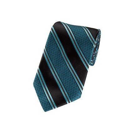 L-02 | Oasis Blue and Black Swirls and Striped Woven Necktie