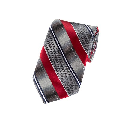 L-03 | Gradient Gray and Crimson Red Geo Multi Striped Woven Necktie