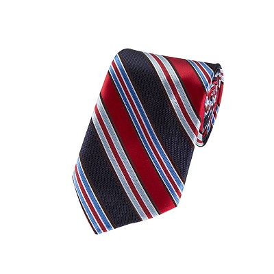 DL-04 | Red and Multi Blue Striped X-Long Woven Necktie