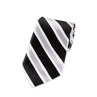 DL-05 | Black, Silver and White Wide Striped X-Long Woven Necktie