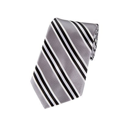 DL-07 | Black, Silver and White Narrow Striped X-Long Woven Necktie