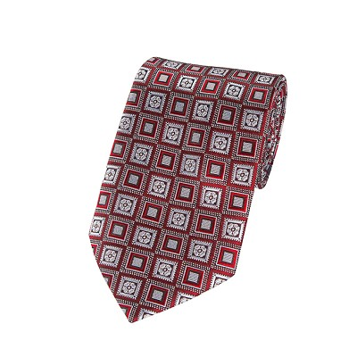 L-11 | Crimson Red and Silver Retro Flower Woven Necktie