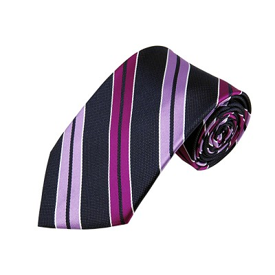 DL-43 | Lavender, Violet and Dark Navy Blue Dual Stripe X-Long Woven Necktie