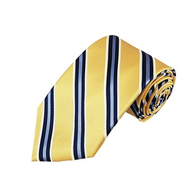 DL-23 | Steel Blue and Dark Navy on Light Yellow Repp Stripe X-Long Woven Necktie