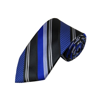L-30 | Royal Blue and Black Multi-Patterned Stripe Woven Necktie