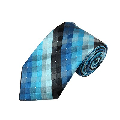 DL-32 | Multi-Shade Blue and Black Cross Weave X-Long Woven Necktie