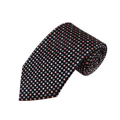 DL-34 | Palm Coral / Peach and Light Steel Blue Dots Geometric X-Long Woven Necktie