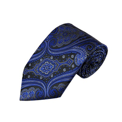 L-37 | Royal Blue w. Charcoal Gray on Black Big Floral Paisley Woven Necktie