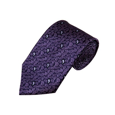 DL-38 | Eggplant Purple Small Teardrop Print Paisley X-Long Woven Necktie