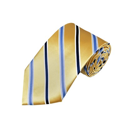 DL-39 | Steel Blue and Dark Navy Blue on Honey Gold Narrow Stripe X-Long Woven Necktie