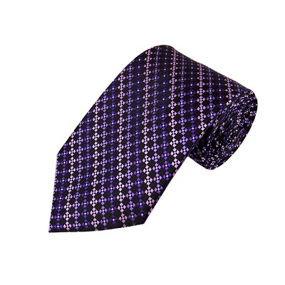 DL-41 | Multi-Shade Purple w. Black Cross Box Pattern X-Long Woven Necktie