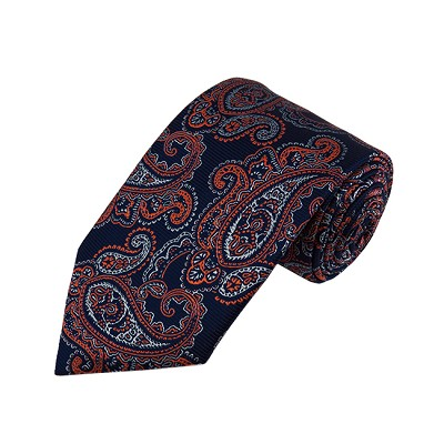 DL-44 | Dark Orange and Silver On Navy Blue Floral Paisley X-Long Woven Necktie